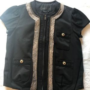 BCBG MAXAZRIA Black Short Sleeved Jacket